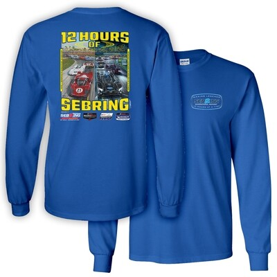 68th Mobil 1 12 Hours of Sebring Long Sleeve Poster Tee-Royal