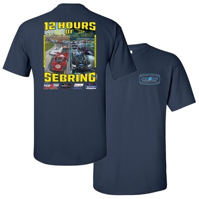68th Mobil 1 12 Hours of Sebring Poster Tee - Navy