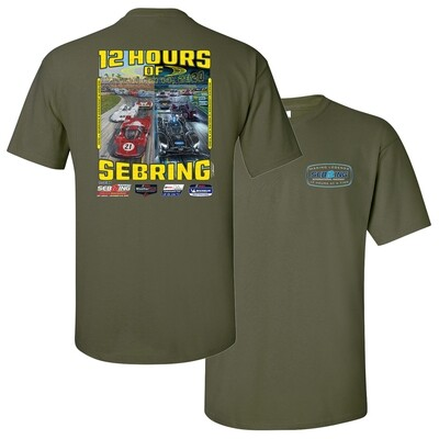 68th Mobil 1 12 Hours of Sebring Poster Tee - Military Green