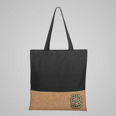 LEOPARD Initial Letter Print Tote Bag