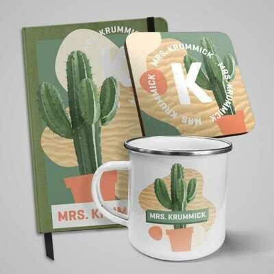 Teacher Giftset with Cactus Notebook, Mug & Coaster (English)