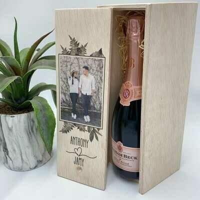 Personalised Wooden Champagne Box