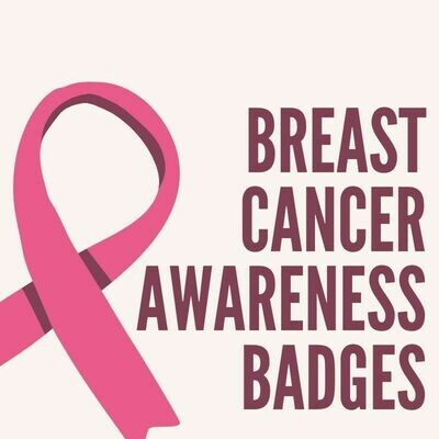 Breast Cancer Awareness Button Badges (Ready-Made) PACK of 50