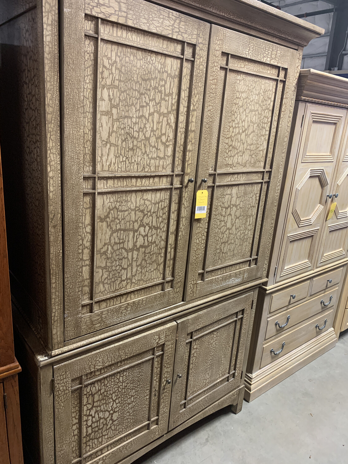 G DISTRESSED LARGE TV/DRESSER ARMOIRE