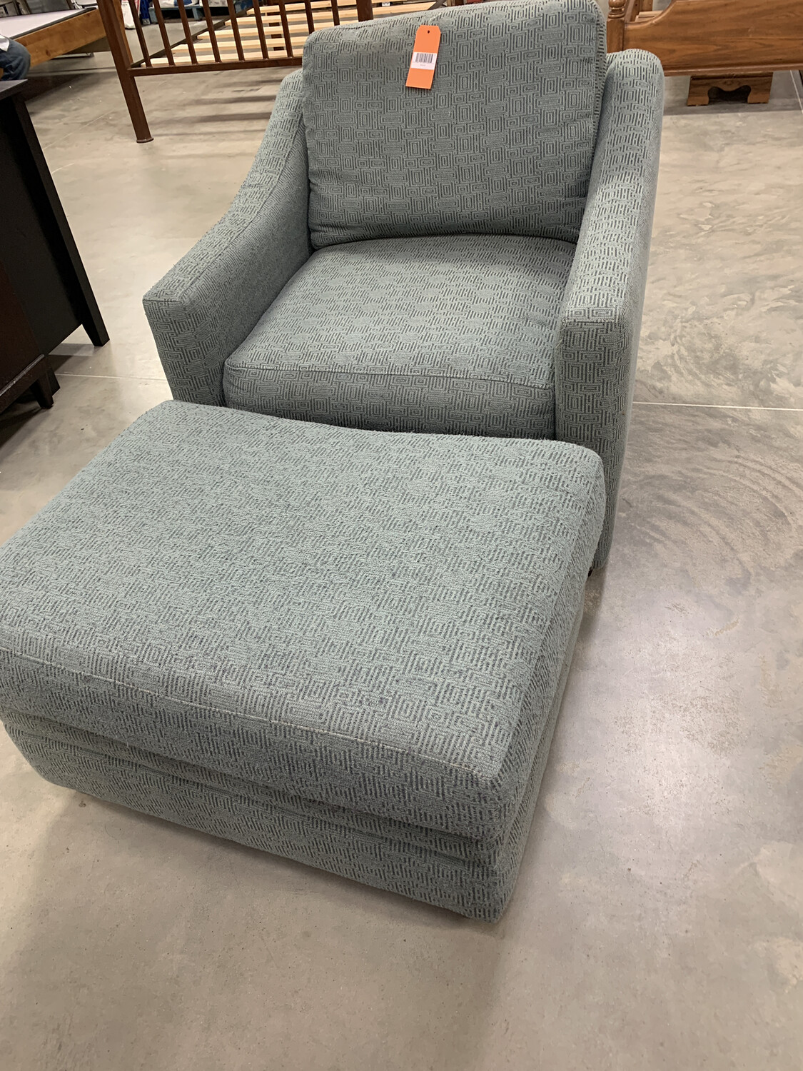 GREEN DOWN FEATHER CHAIR/OTTOMAN