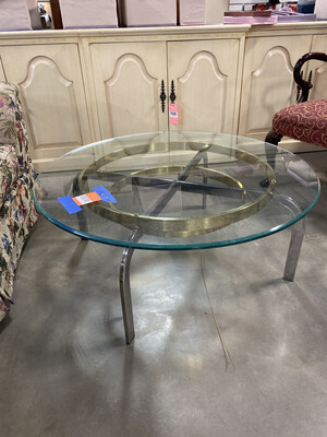 GOLD COFFEE/SIDE TABLE ROUND GLASS TOP