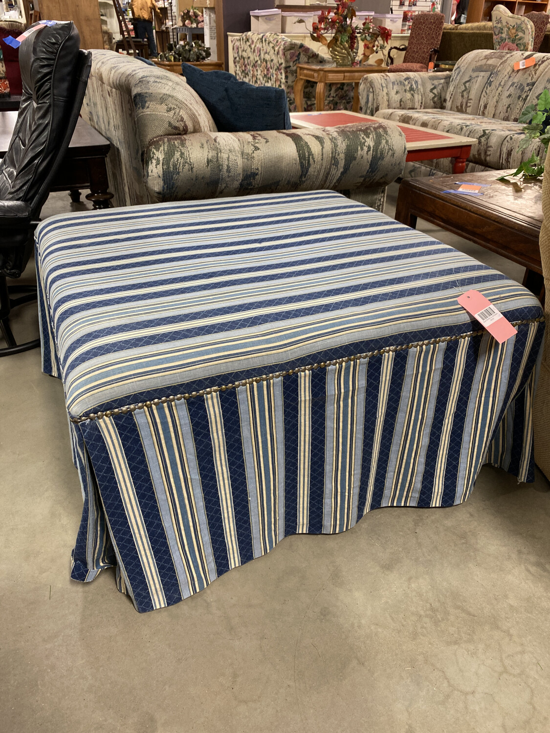 BLUE STRIPED LG. OTTOMAN