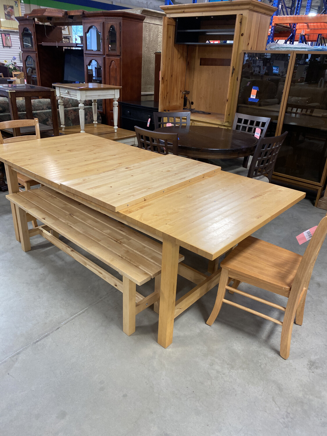 LG FARM TABLE/2 BENCHES/2 CHAIRS/LEAF