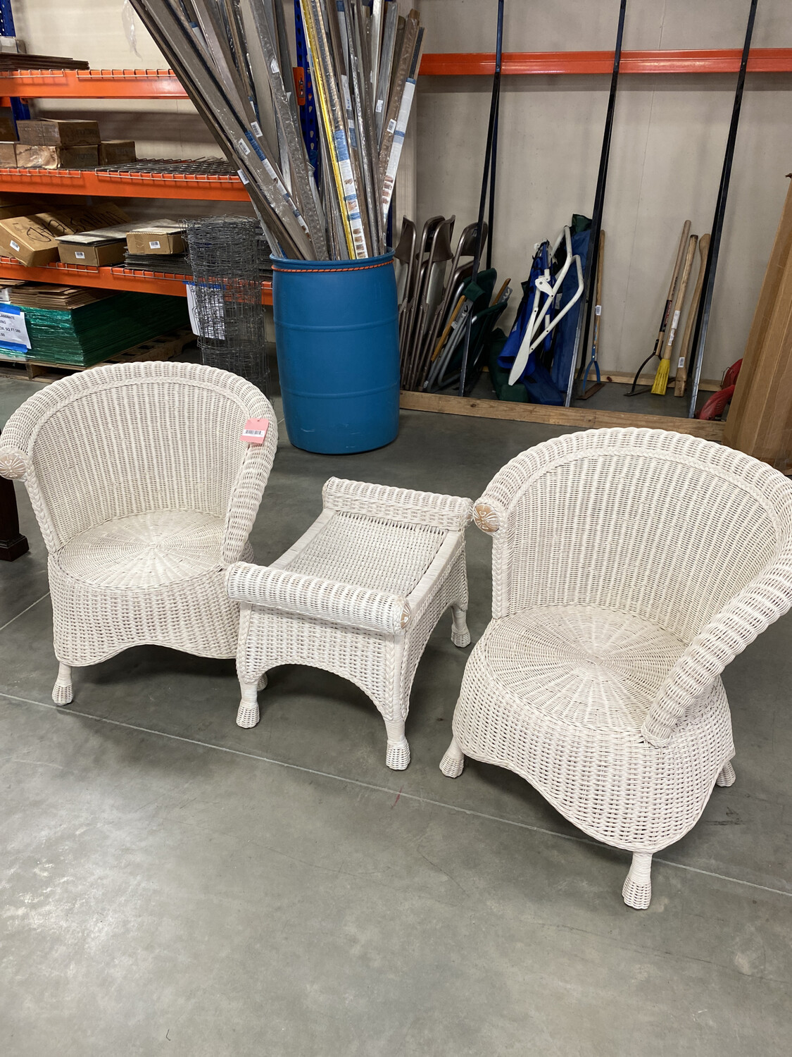 2 WICKER CHAIRS ONE OTTOMAN