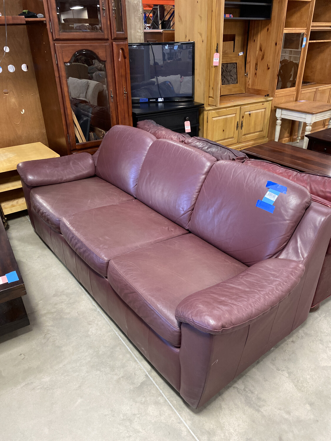 BURGUNDY SOFA/CHAIR/OTTOMAN