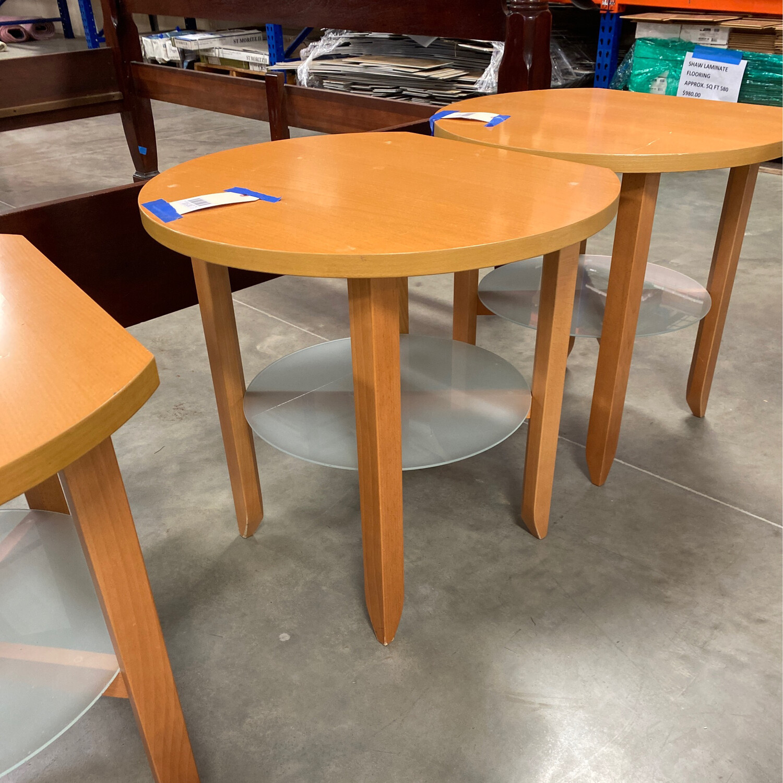 LIGHT BROWN RD./GLASS SHELF TABLE