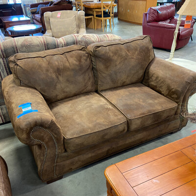 DARK BROWN SUAVE LEATHER LOVESEAT