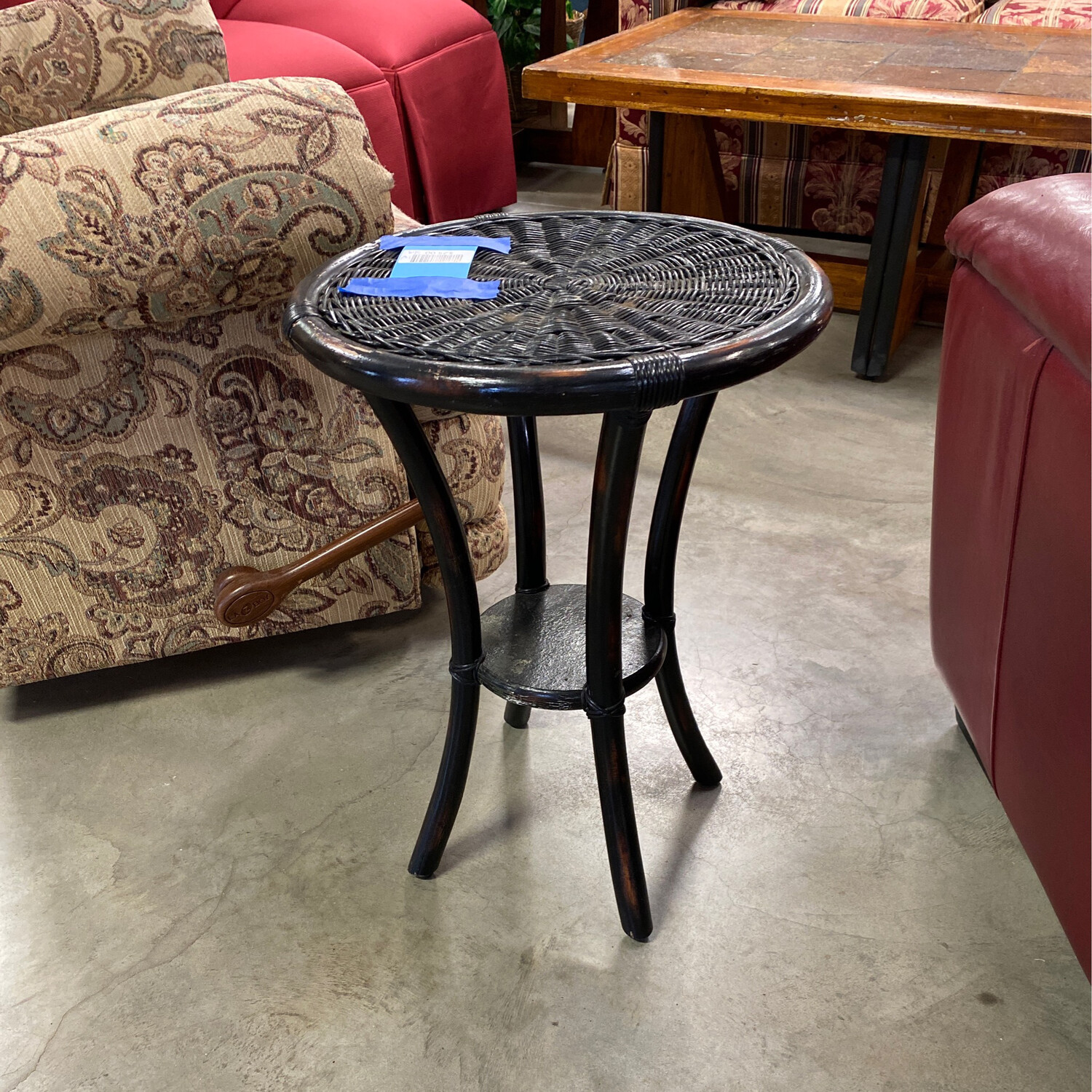 SMALL ROUND WICKER SIDE TABLE