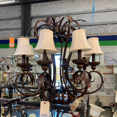 LARGE BROWN METAL LIGHT W/6 WHITE CANDLE W/CLOTH  GLOBE & LEAVES