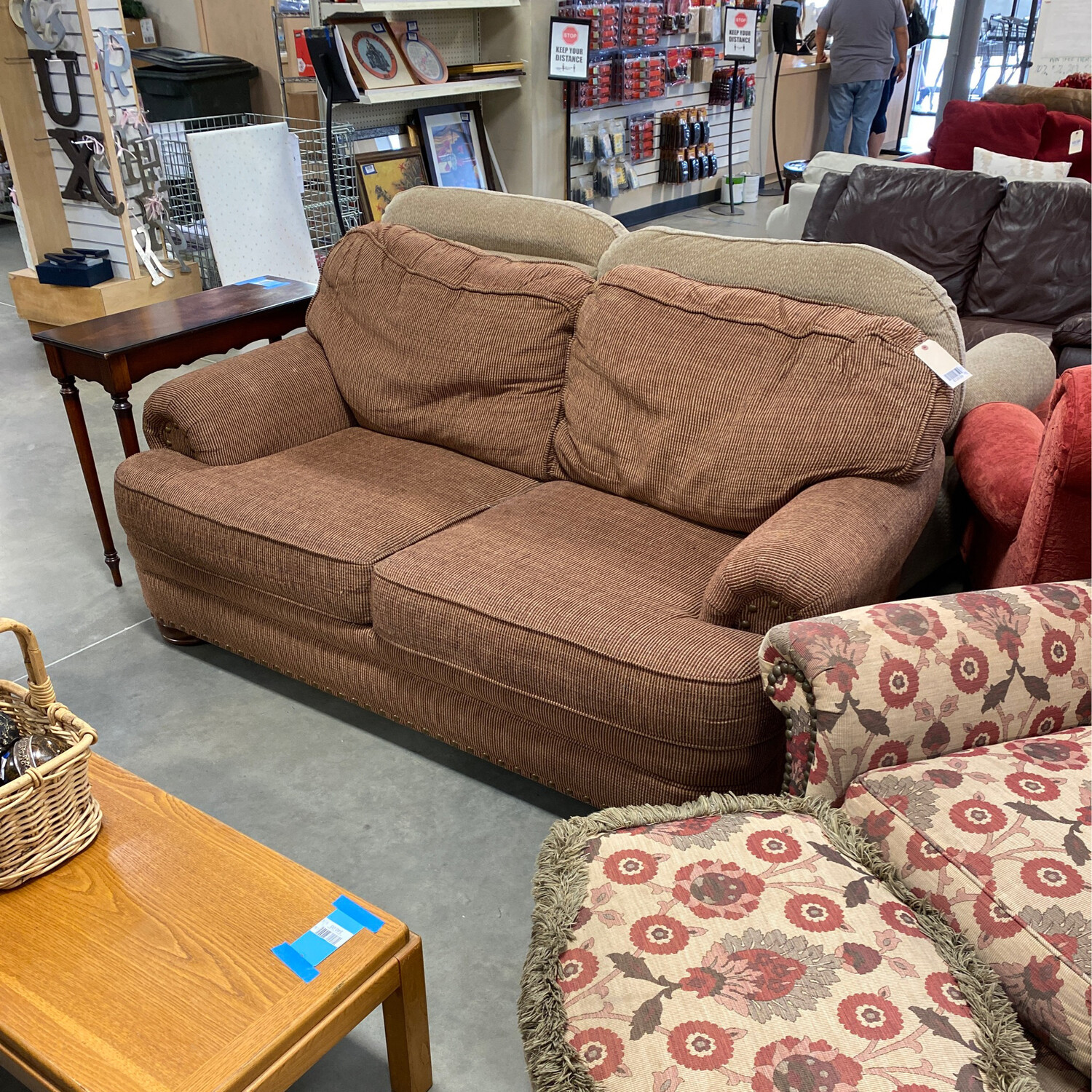 rust colored love seat