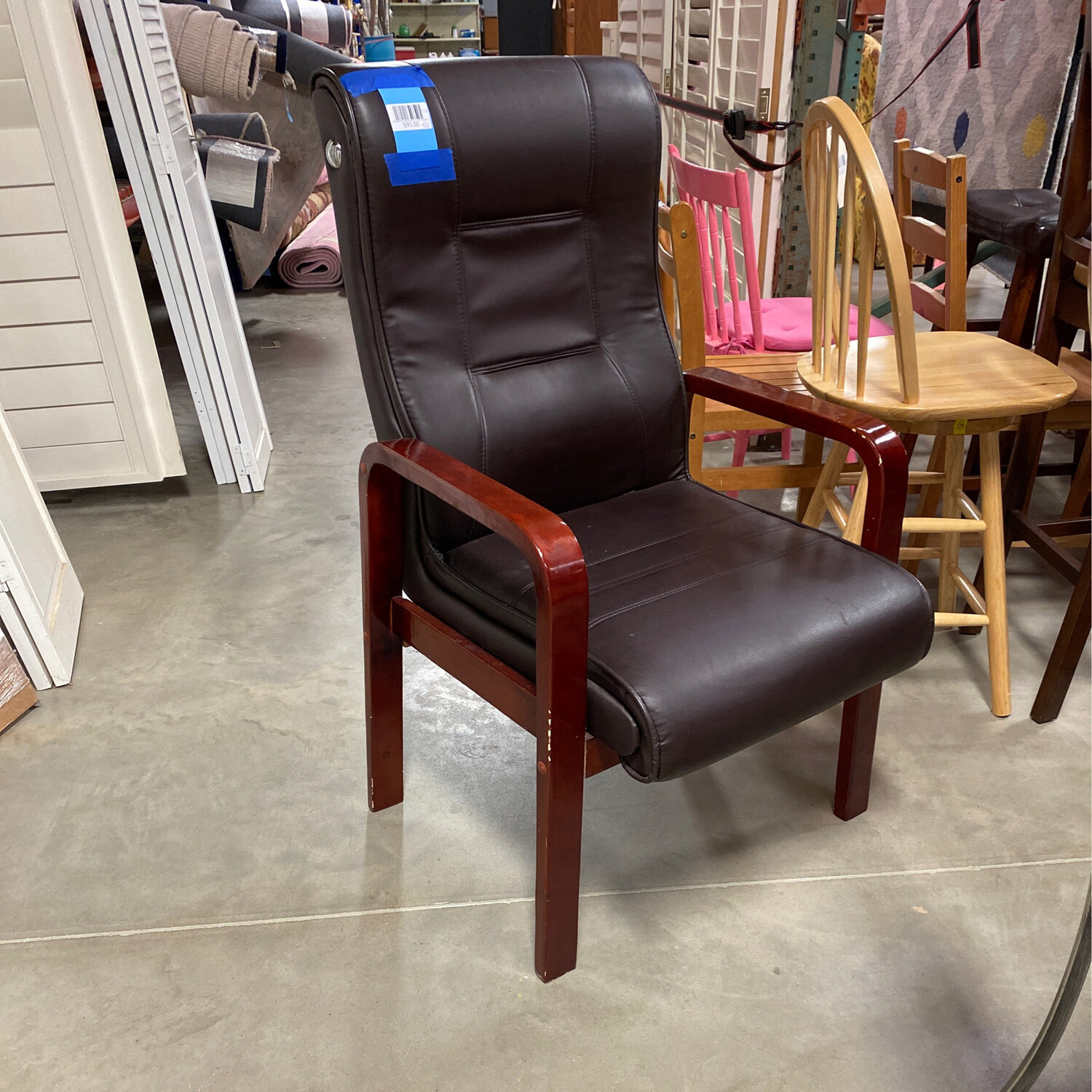 DARK BROWN LEATHER/WOOD OFFICE CHAIR