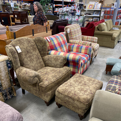 CLEARANCE BROWN, RED, BEIGE CHAIR/OTTOMAN