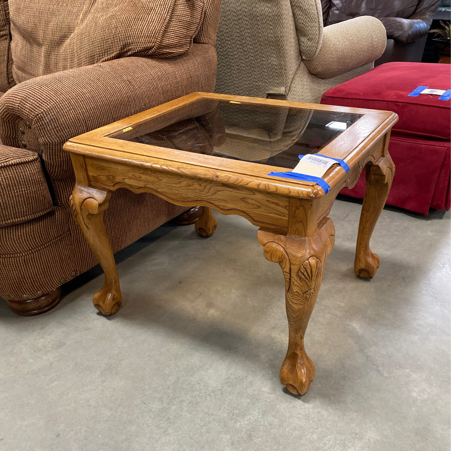 2 ORNATED ENDTABLE WITH GLASS INSERT SET