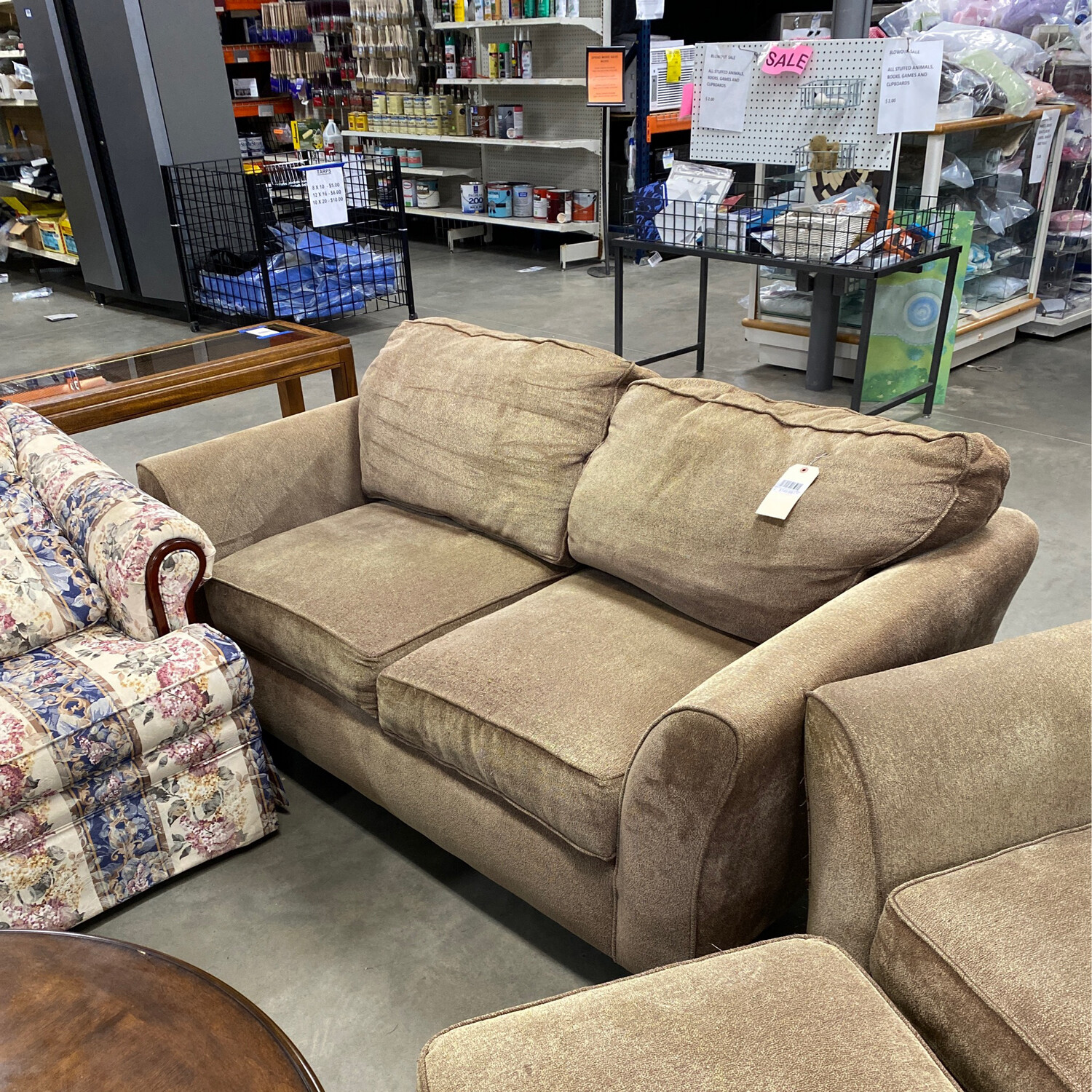 CLEARANCE-GREEN/GOLD LOVESEAT/CHAIR WITH OTTOMAN