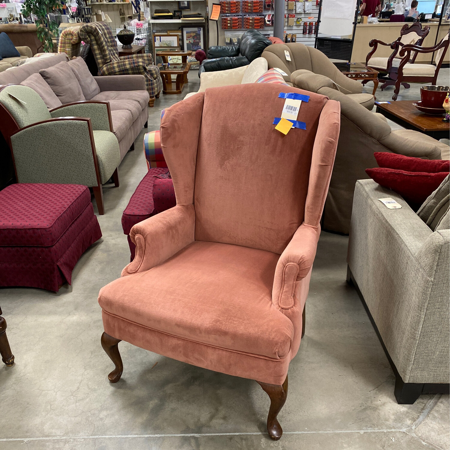 CLEARANCE-DARK PINK WINGBACK CHAIR
