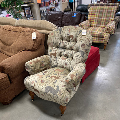 CLEARANCE BROWN GREEN CHAIR W/ROLLERS IN THE FRONT