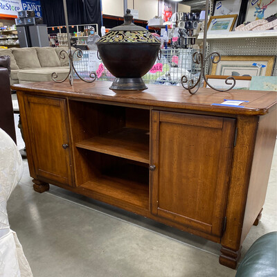 CLEARANCE BROWN TV STAND 2 DOORS