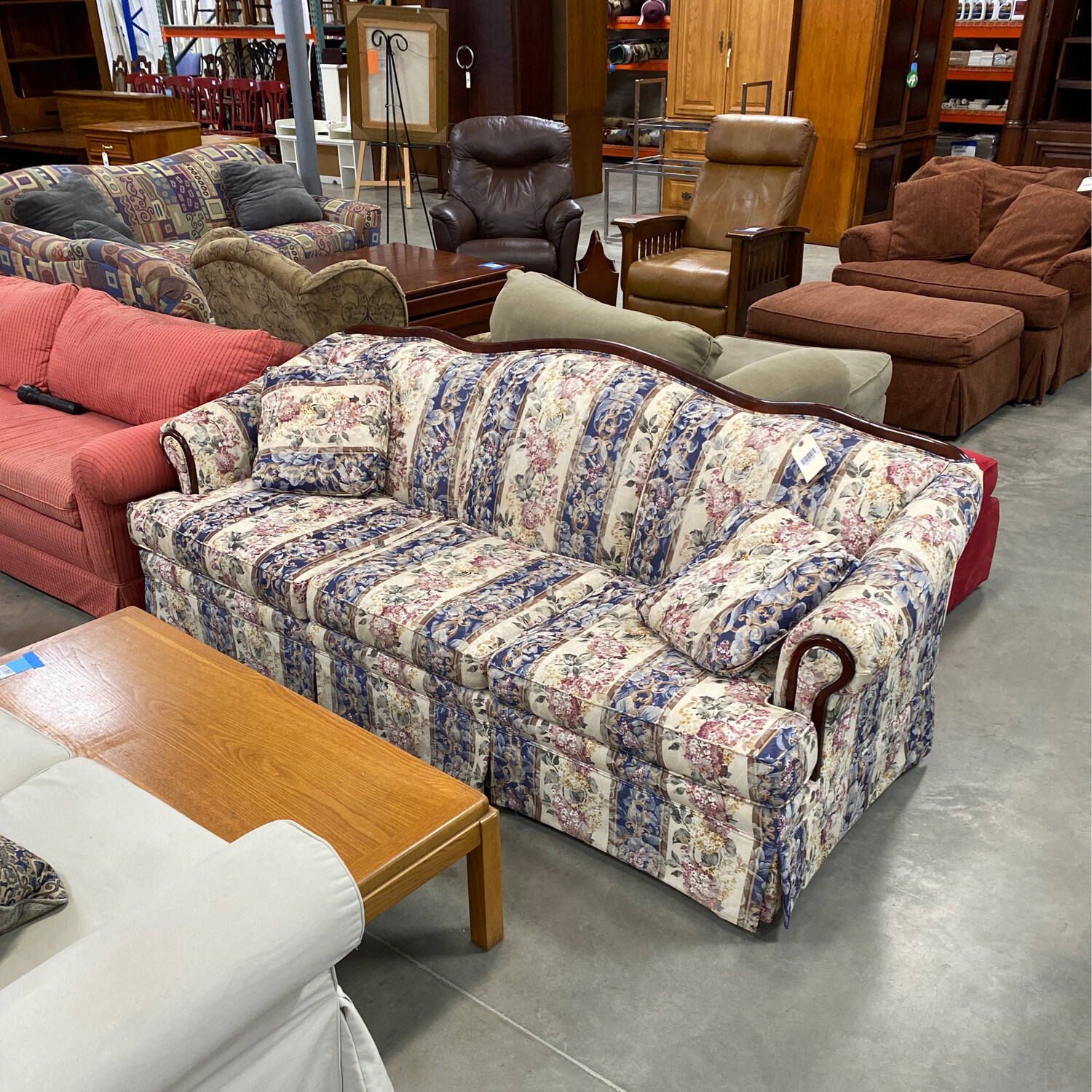 CLEARANCE BLUE/RED FLORAL SOFA