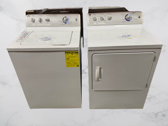 GE Washer And Gas Dryer Set White