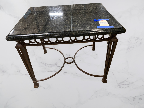 Wrought Iron and Granite Top Side Table
