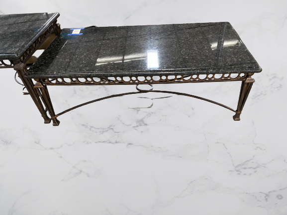 Wrought Iron And Granite Top Coffee Table