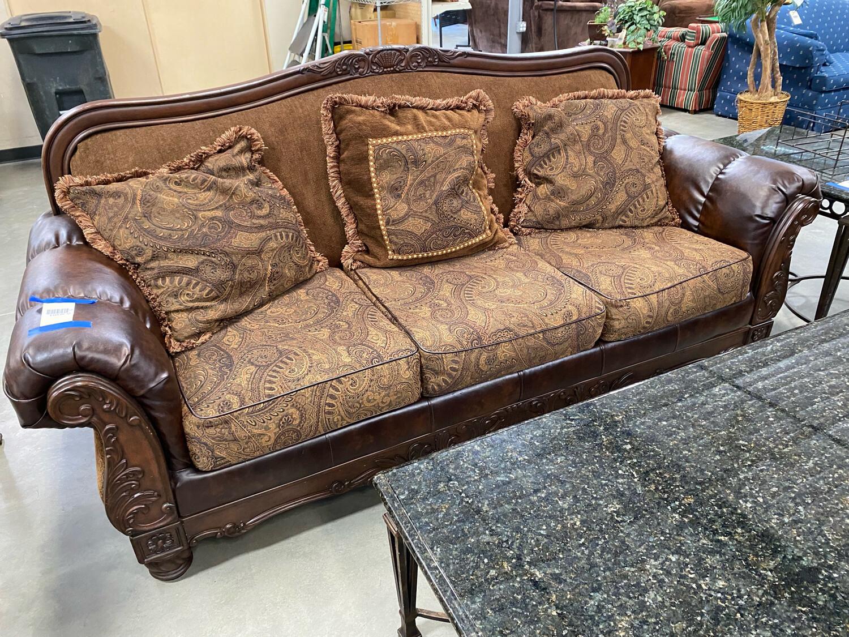 Brown Wood/Leather Sofa