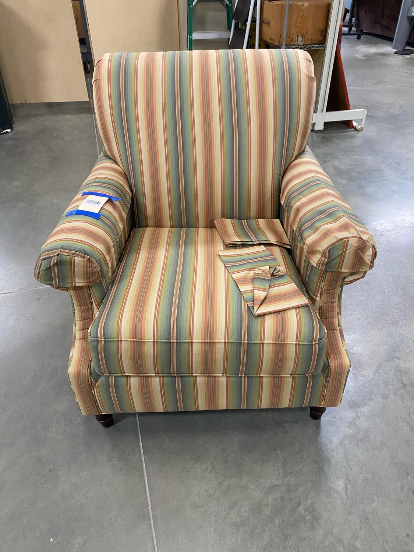 Green/Beige/Orange Striped Chair