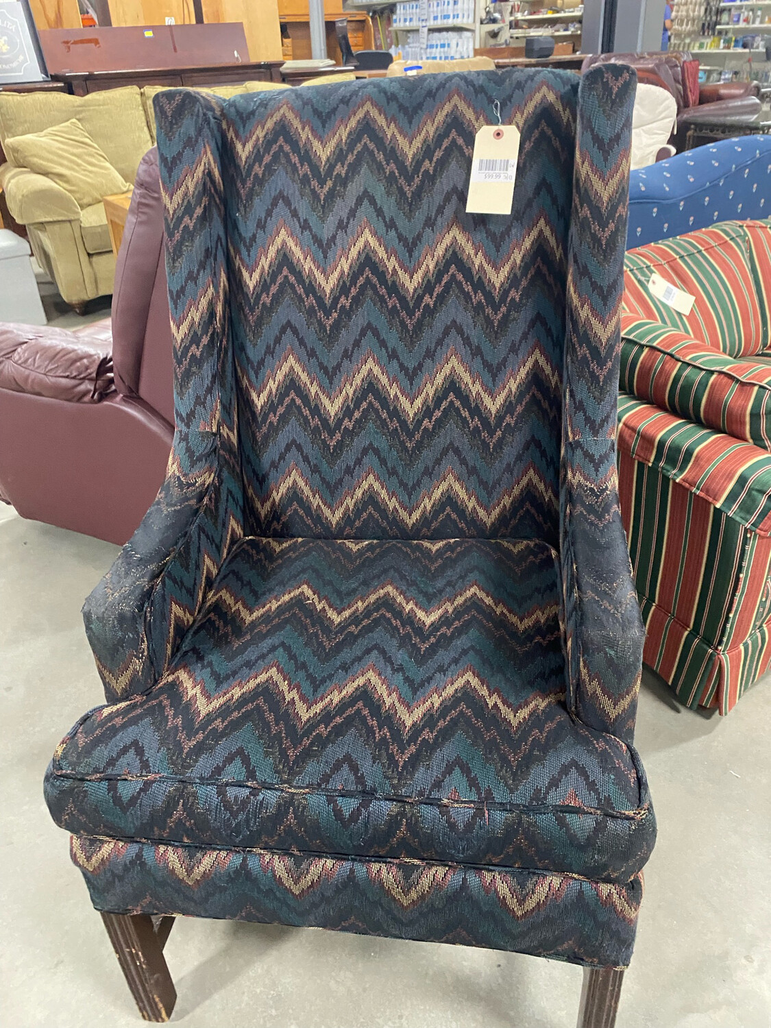 Blue/Red/Beige Wingback Chair