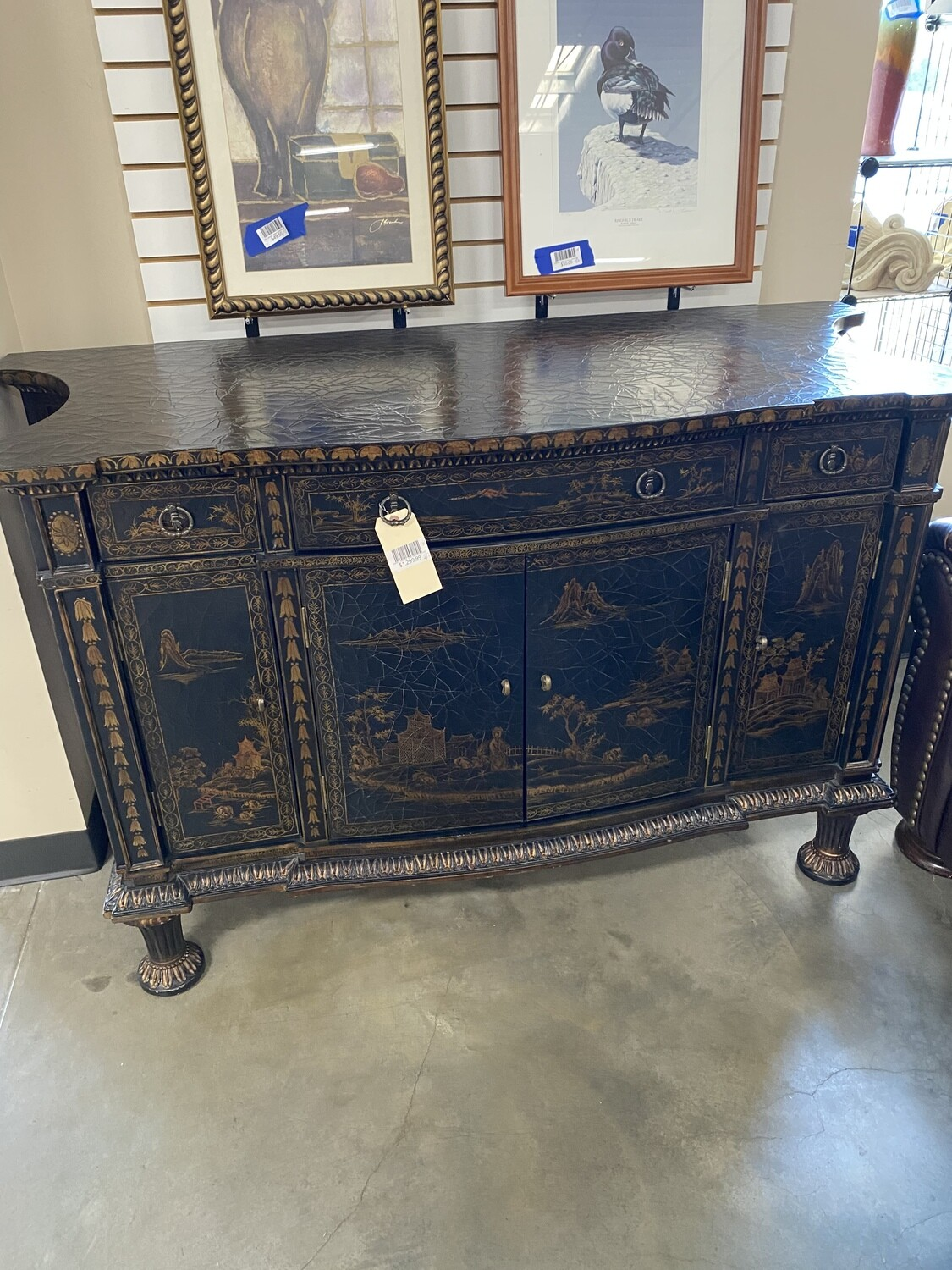 Rare Vintage Oriental Hand Painted Buffet