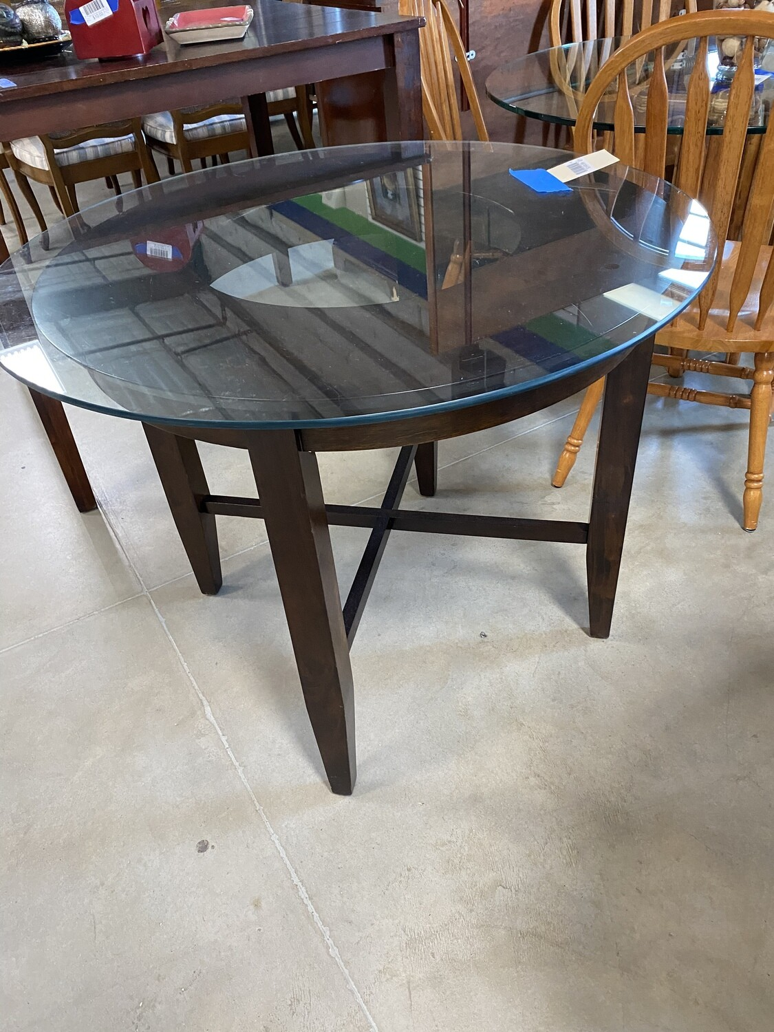 Glass top round dining table 4 chairs