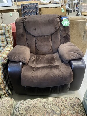 CLEARANCE LEATHER/SUADE BROWN RECLINER