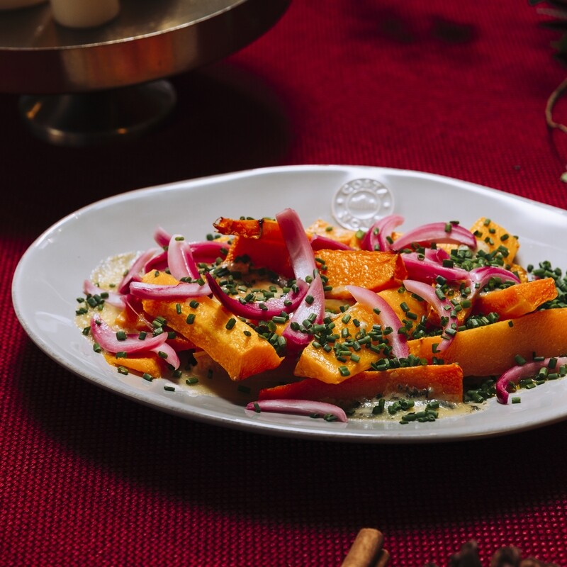 Roasted Butternut Squash with Blue Cheese and Pickled Red Onions