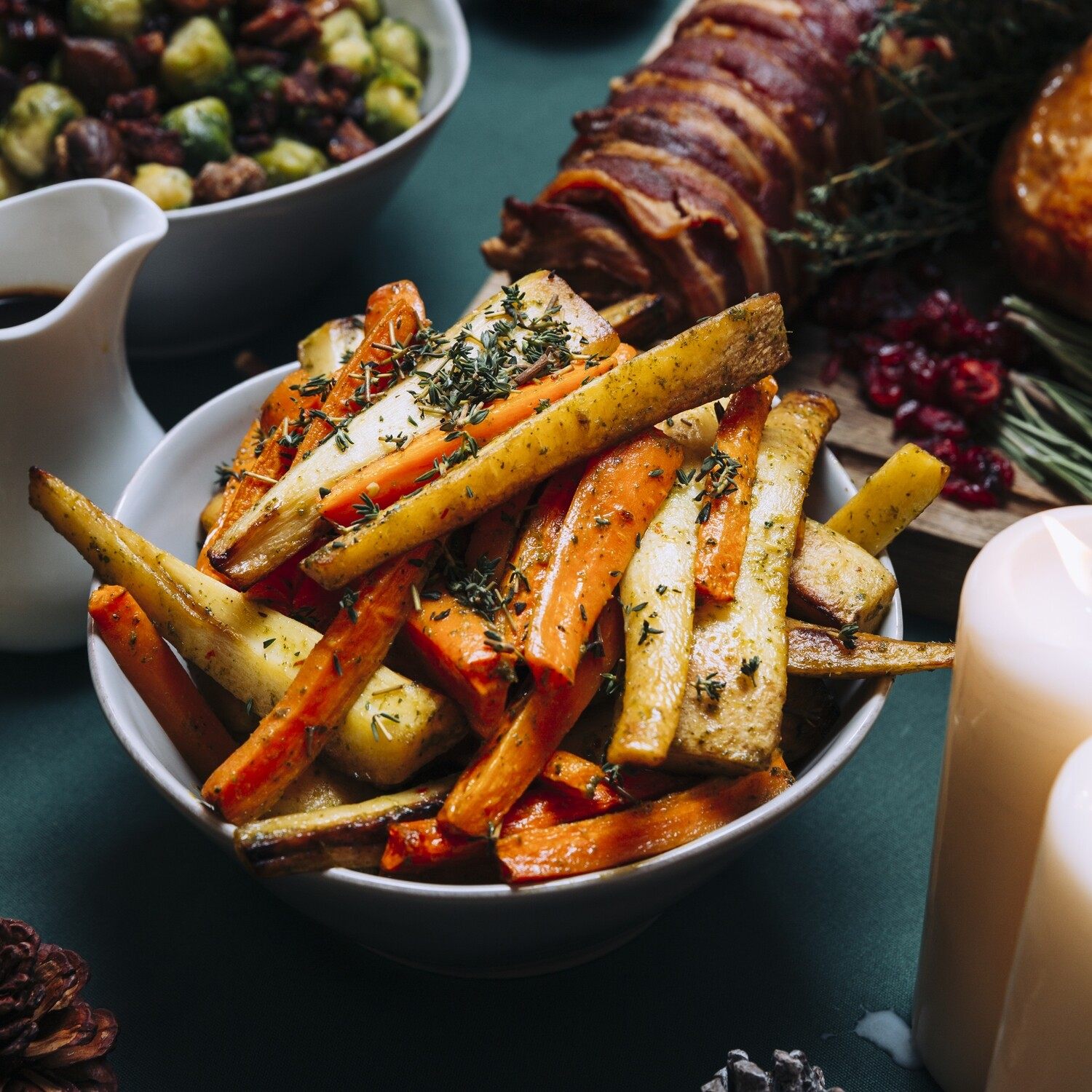 Honey Roasted Parsnips and Carrots with Herby Dressing
