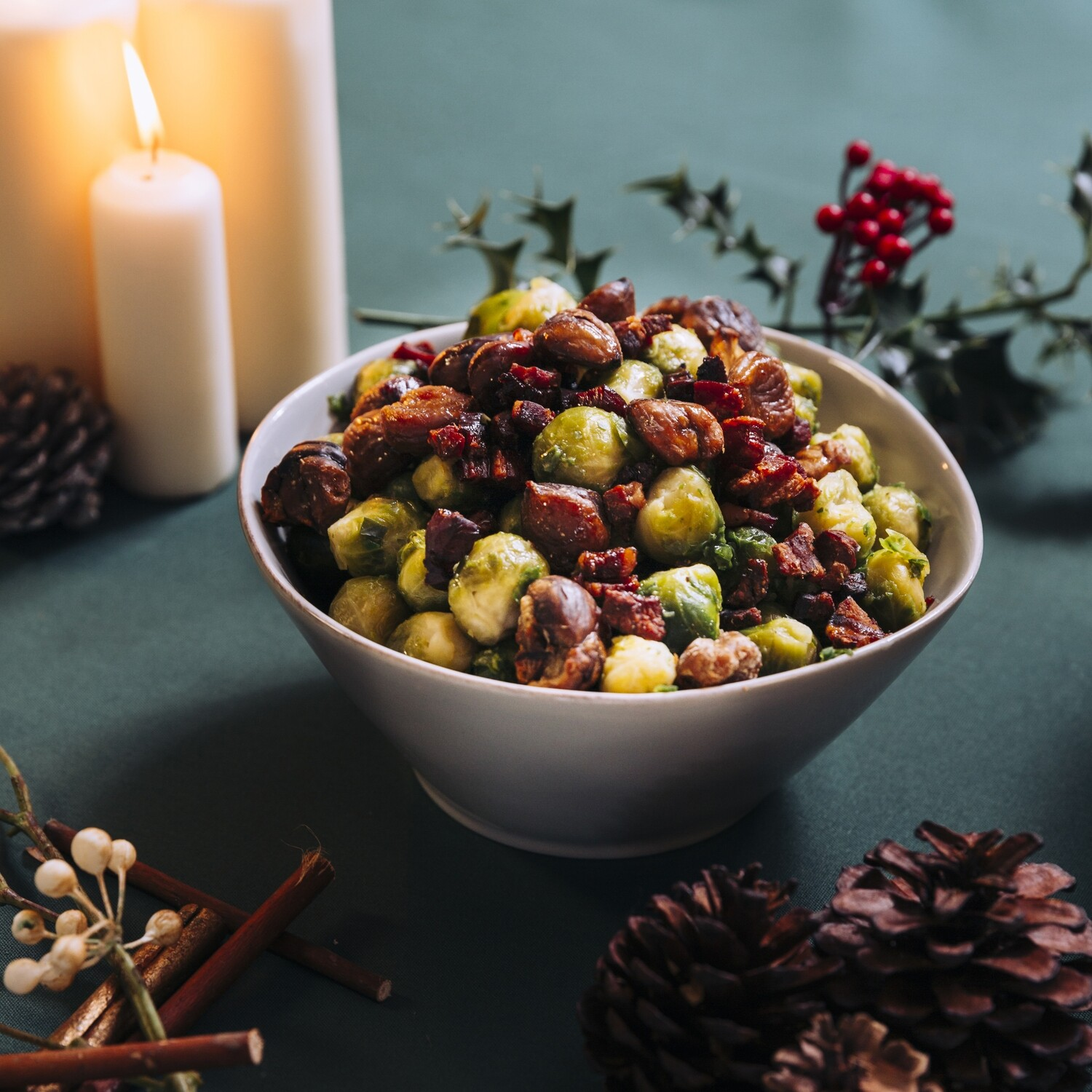 Sautéed Brussel Sprouts with Crisp Pancetta and Chestnuts