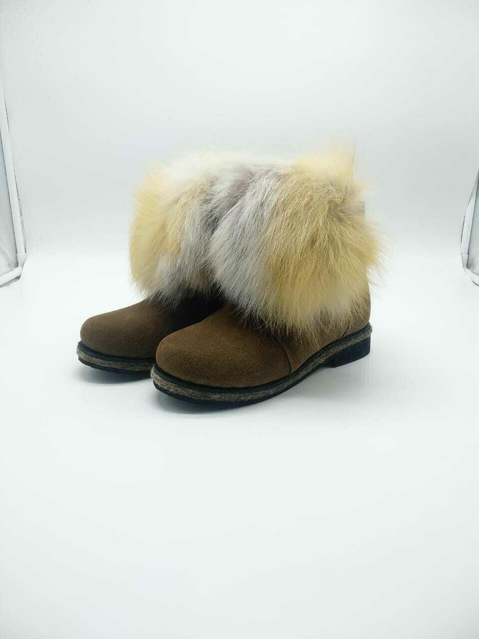 38 Унты-ботиночки женские на шнурках из замши