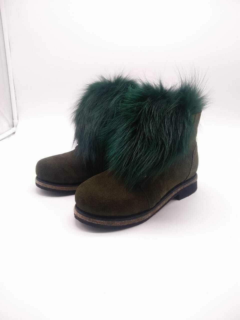 39 Унты-ботиночки женские на шнурках из замши и песца