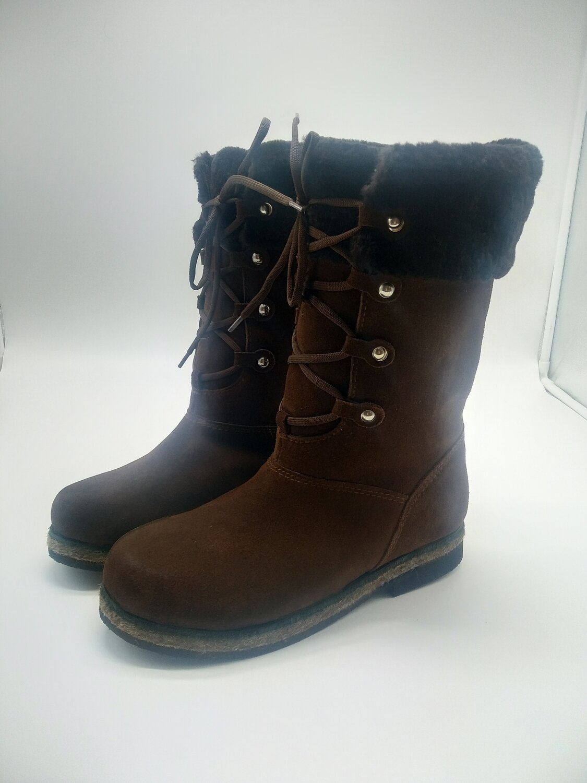40 Унты-ботиночки женские из замши на шнуровке