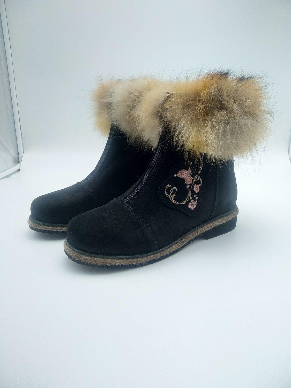 41 Унты-ботиночки женские из замши с опушкой из лисы на молнии
