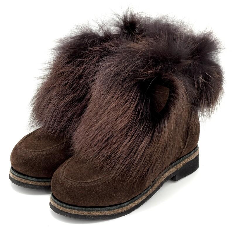 Унты-ботиночки женские из замши и лисы