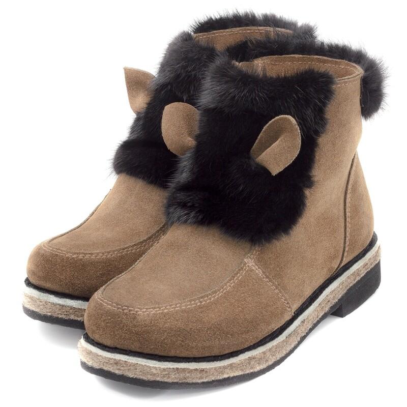 Унты-ботиночки женские из замши и норки