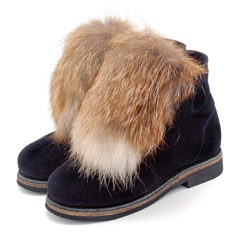 Унты-ботиночки женские из замши и лисы рыжей
