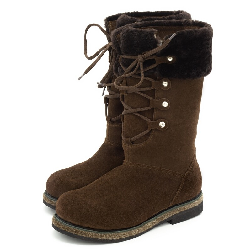 Унты-ботиночки женские высокие из замши и мутона