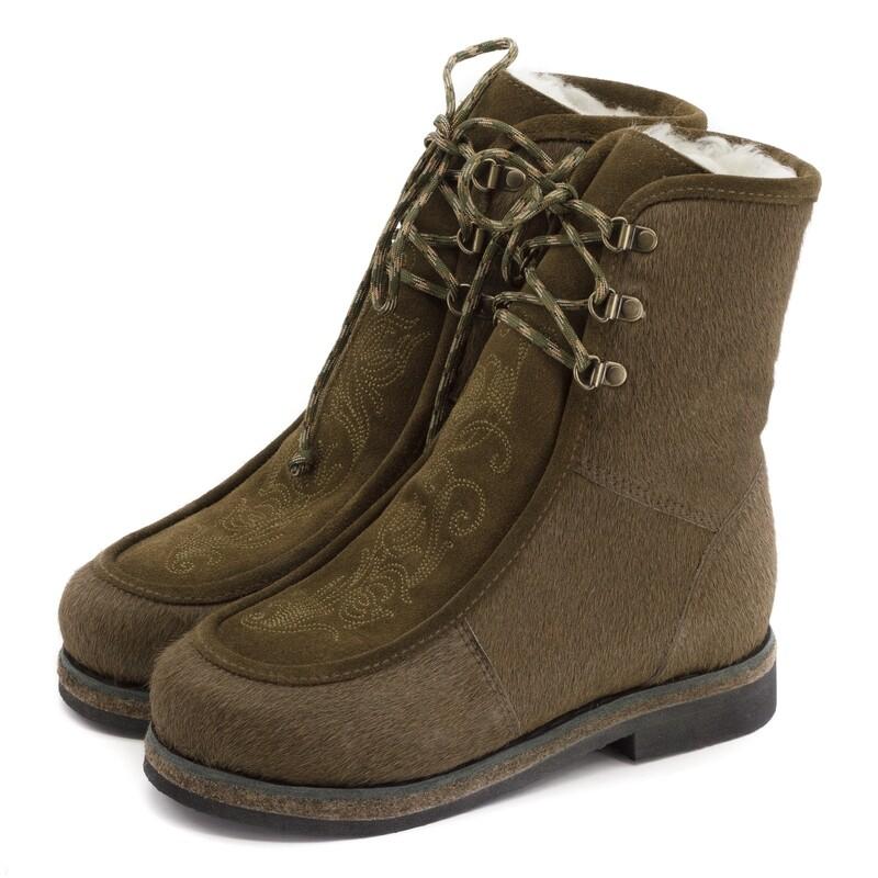 Унты-ботиночки женские из меха пони и замши
