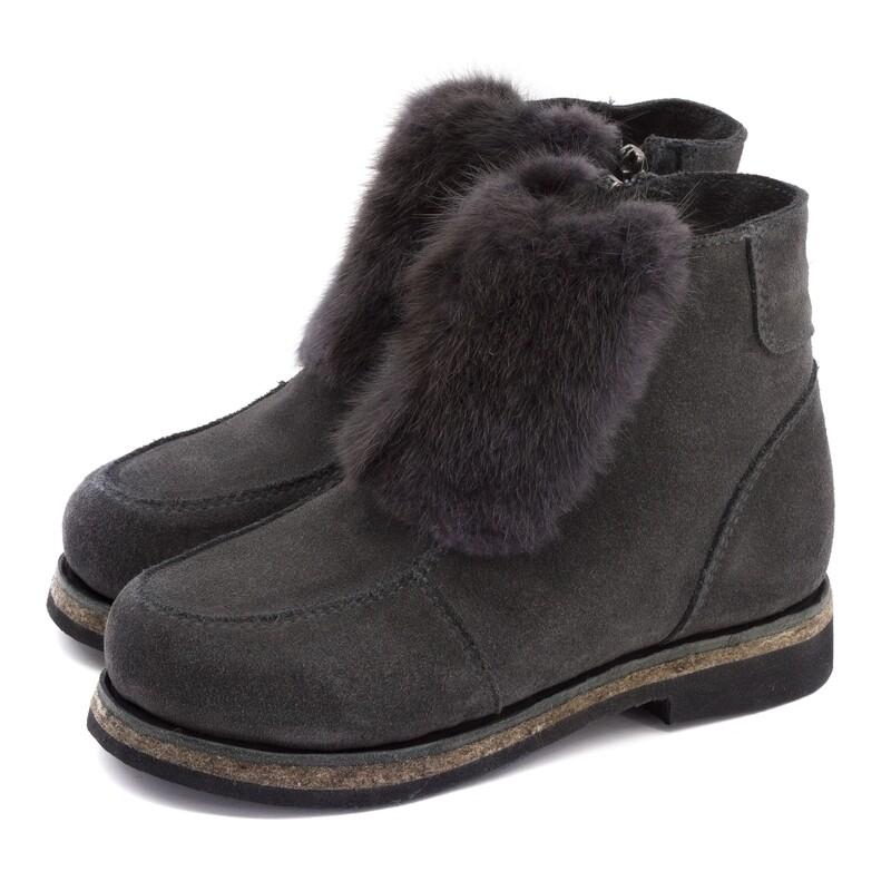 Унты-ботиночки женские из замши и меха ондатры
