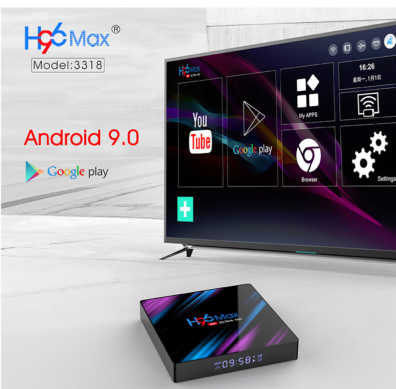 Box TV Android 9.0 H96 Max - 4Go de RAM compatible EU